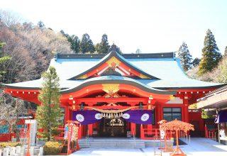 鮮やかな朱色の社殿での厳かな神前結婚式。四季折々の表情を見せる自然に囲まれた境内。